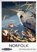 Norfolk, Heron & Bearded Tits. Vintage BR Travel poster by Talbot Kelly.